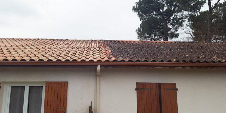 Eine Dachfläche vor und nach der Dachreinigung