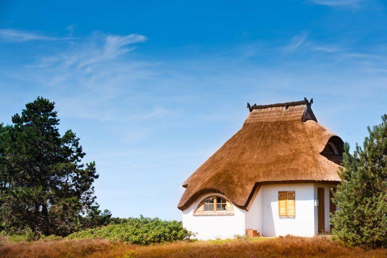 Ein Haus mit einem Reetdach