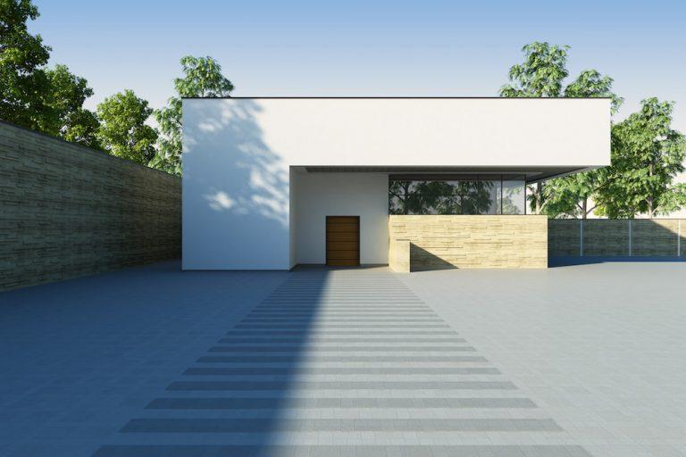 Modernes Haus mit einem Flachdach.